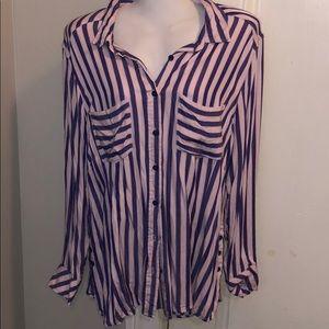 Seven7 Melissa Mccarthy Striped Purple Blouse 1X